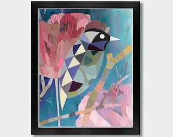 Mid Century Modern Art - Natural Patterns. Eco Friendly Print. Bird Prints, Midcentury Wall Art, Sparrow, Bird Illustration, Bird Geometric