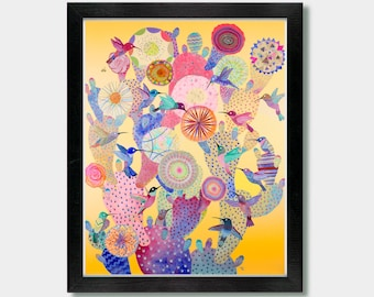 Mexican Folk Art - Coming Together. Cactus Decor, Southwestern Decor, Folk Art Painting, Cactus Print, Hummingbird, Cactus Art, Print, Art