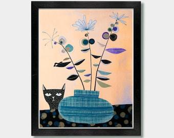 Mid Century Modern, Different Perspectives. Mid Century Modern Art, Cat, Living Room Decor, Laundry Room Decor, Funny Bathroom Art, Room