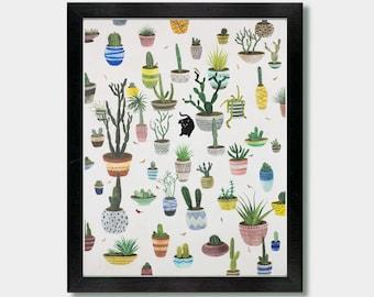 Cactus Print - Cactus Garden - House Plants, Cat, Cacti, Southwest, Southwestern, Arizona, Desert Art, Mexican Folk Art, Southwestern Decor