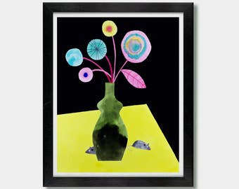 Mice. Hangout. Kitchen Artwork, Childrens Room, Kitchen Art, Nursery Decor, Mouse, Rat, Cute, Mouse Print, Watercolor Flowers, Boho House