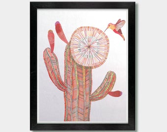Southwestern Decor - Attraction - Cactus Decor, Cactus Art, Cactus Print, Hummingbird, Southwest, Mexican Folk Art, Arizona, Desert Art, Art