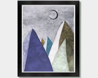 Hiking. We Shall Find. Mountain, Moon Art, Crescent Moon Art, Zen Art, Vegan, Yoga Decor, Yoga Art, Wall Decor, Moon Art