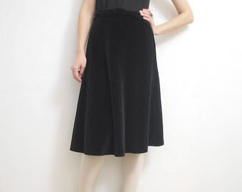 70s does 50s black velvet skirt. full velvet skirt. belted velvet skirt - medium