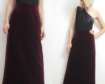 60s 70s burgundy velvet maxi skirt. cotton velvet skirt. column skirt - small