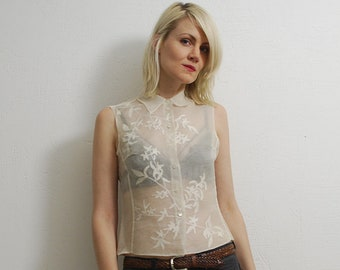 90s cream silk crop top. sheer top. sleeveless top. embroidered blouse - xs