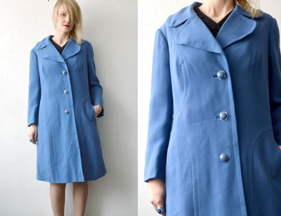 Lovely Bright Cobalt Blue Open Coat with Two Big Pockets