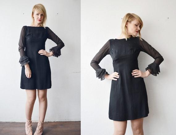 1960s Stephen O/'Grady Vintage  Little Black Dress  Layered Mini Dress  Sheer Layer  Ruffled Bottom  Sleeveless  Metal Zipper  Formal