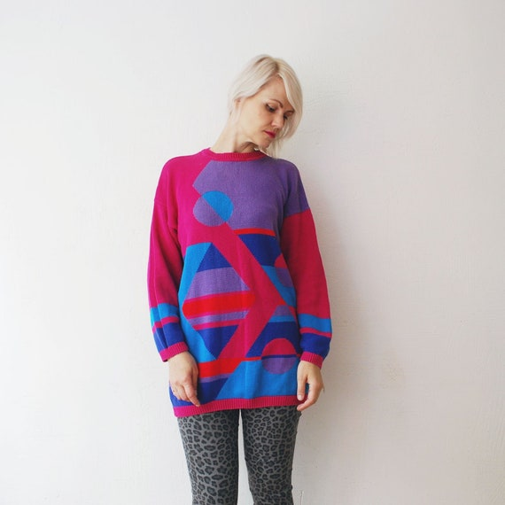 80s 90s oversized sweater with geometric pattern. bright long sweater. knit sweater medium, large