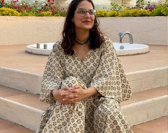 Organic Tiered Dress - Hand-Blocked Ivory Mustard Floral Tier dress - Organic Cotton Maxi Dress