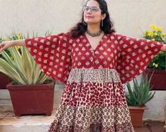 Organic 5-Tiered Dress - Hand-Blocked Ivory Red Maxi Tier dress - Organic Cotton