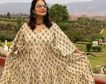 Organic Tiered Dress - Hand-Blocked Ivory Black Leafy Motif Front Buttoned Tier dress - Organic Cotton Maxi Dress