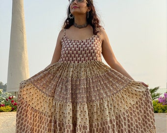 Organic Spaghetti 5-Tiered Dress - Hand-Blocked Mix Patterned Tier dress - Organic Cotton Maxi Dress