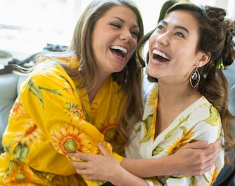 Yellow Sunflower Bridesmaids robes | Kimono Style getting ready robes for wedding day, wedding favors, Bridesmaids gift, Bridesmaid Robes