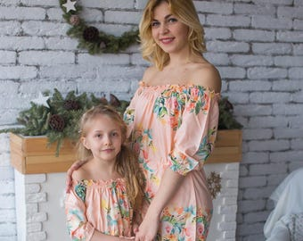 bbea1d8d29 Blush Matching Rompers - Off shoulder Dreamy Angel Song Baby Mommy Rompers