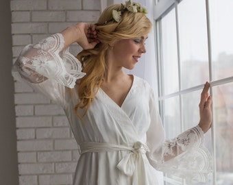 Lace Trimmed Bridal Robe from my Paris Inspirations Collection - Floral Scalloped Long Lace Cuffs