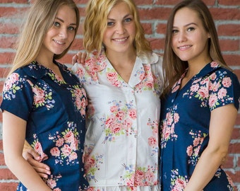 New Premium Navy Blue Faded Flowers 2 Piece Pj Sets, Getting Ready Pajamas, Bridesmaids Button Down Shirts, Bridesmaids Gifts, Summer Shorts
