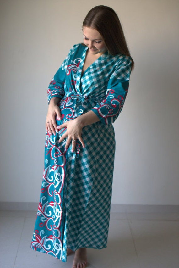 Teal Plaid Floral Ankle length Maternity Robe Hospital Gown Labor gown  Delivery gown nursing mothers to be moms Pregnancy r da140e165