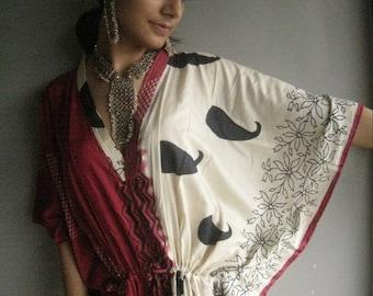 Lovely paisleys - Burgundy Kaftan Robe - Perfect as a long dress, loungewear, beachwear, spas, for to be moms,in short - best gift for her