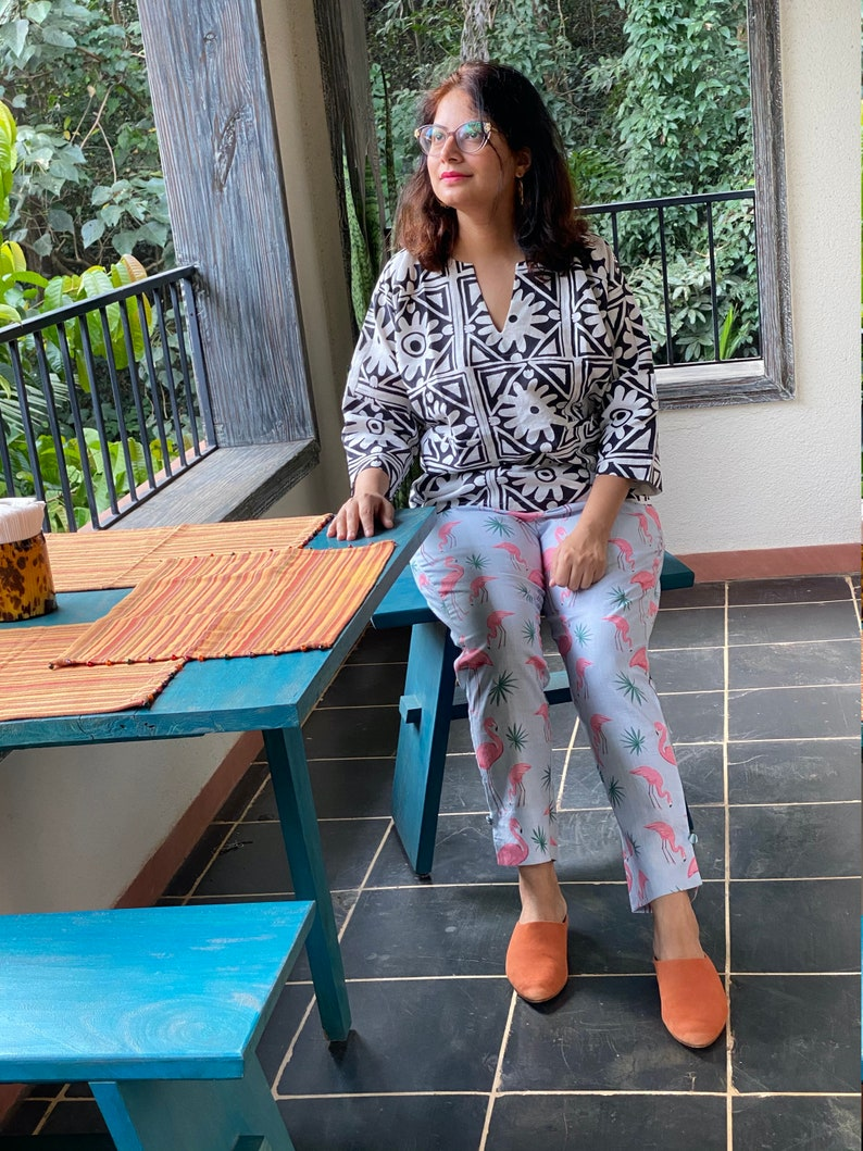 Dusty Blue Flamingo Tales Straight Pants with Contrast Black Grid Land Top Ensemble Irish Linen Comes in all sizes Linen Women Pants