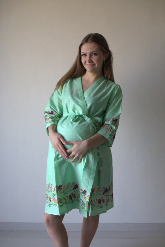 Mint Birds Maternity Robe Hospital Gown Delivery Robe labor | Etsy