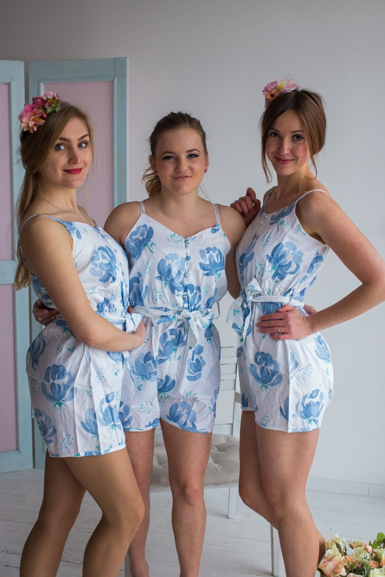 e02dcf23adef Bridesmaids Rompers Belted Slip Style Dusty Blue Blushing