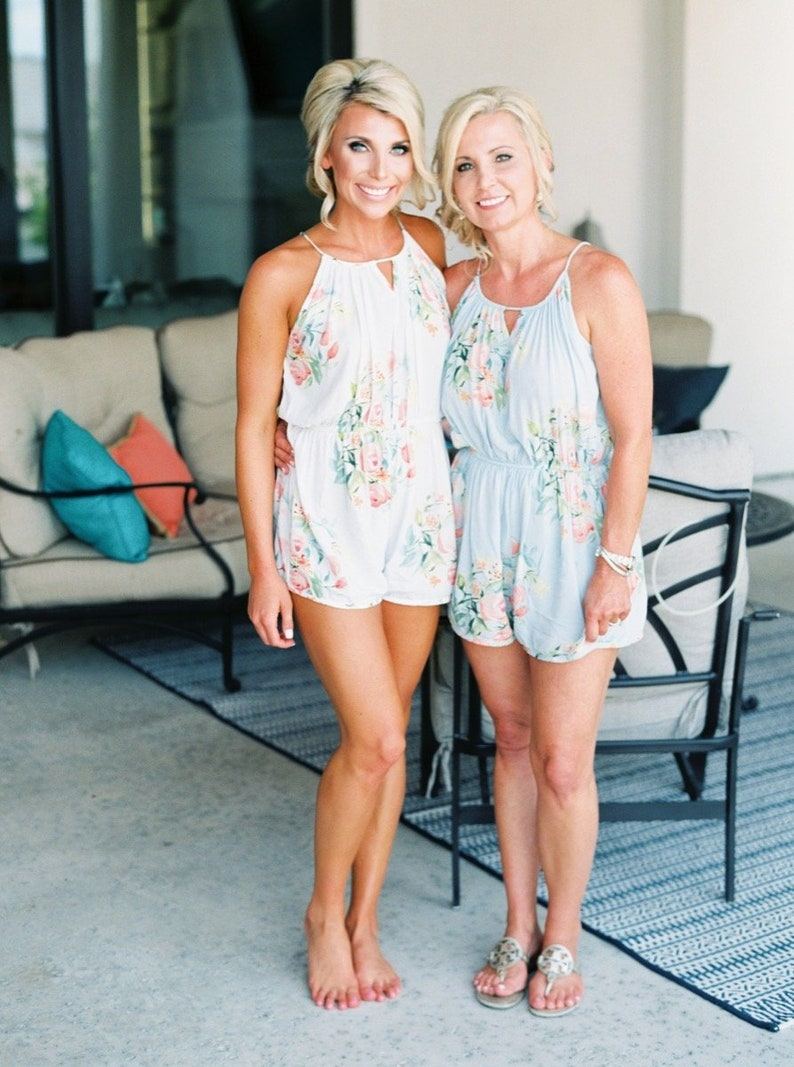 eb6f9ed55ab Light Blue Halter Style Rompers By Silkandmore - Dreamy Angel Song pattern  - Bridesmaids Gifts