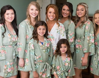Premium Grayed Jade Bridesmaids Robes - Dreamy Angel Song Pattern - Soft Rayon Fabric - Better Design - Perfect as getting ready robes