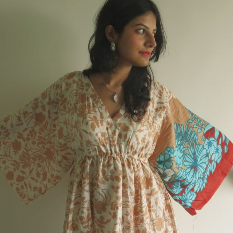 5af99faa9b47b Butterfly Sleeves Empire Waist Leafy Kaftan Dress Summer | Etsy