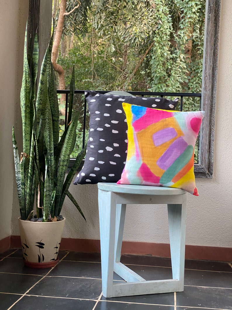 Playful Daubs Available in all sizes Polka Dots theme Black Linen Cushion Cover Linen Pillow Cases Home Decor Linen Cushion Case