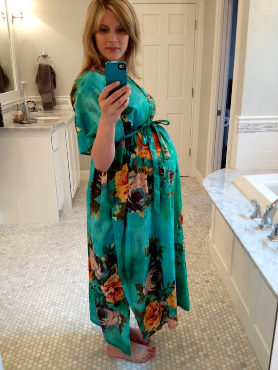 Hospital Gown Only Front Buttoned Delivery Kaftan Aqua