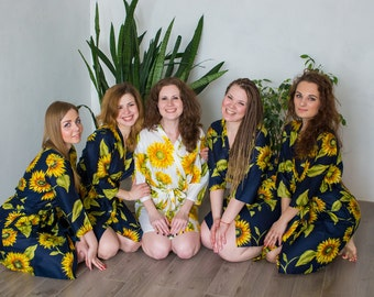Navy Blue Sunflower Bridesmaids robes | Kimono Style getting ready robes for wedding day wedding favors Bridesmaids gift, Bridesmaid Robes