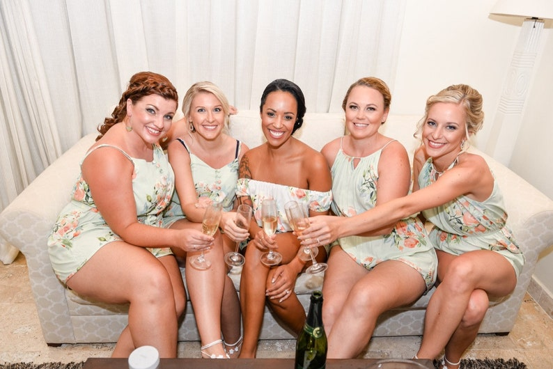 Getting Ready Rompers Bridal Party Rompers Mint Mismatched Rompers By Silkandmore Bridesmaids Gifts Bridesmaids Rompers
