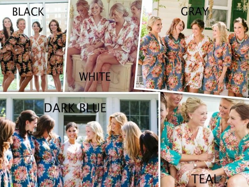 Getting ready robes Bridal Party Robes Blush Bridesmaids Robe Sets Kimono Crossover Robe Floral Robes Bridesmaids gifts