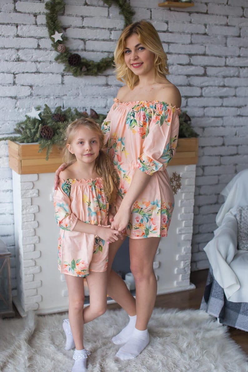 4c3562666f1 Blush Matching Rompers - Off shoulder Dreamy Angel Song Baby Mommy Rompers