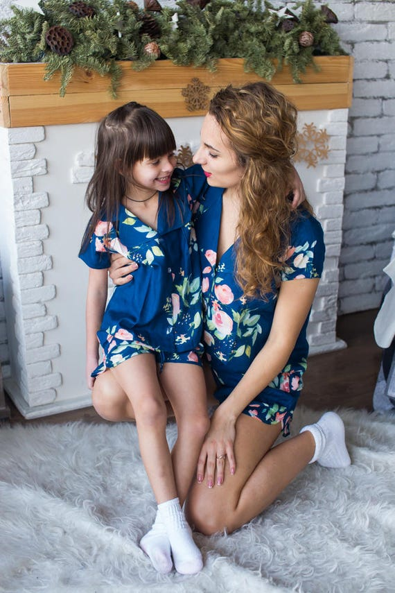 Matching Pjs Navy Blue Baby Mommy Mom and Me Pajamas Floral  3a4c93137