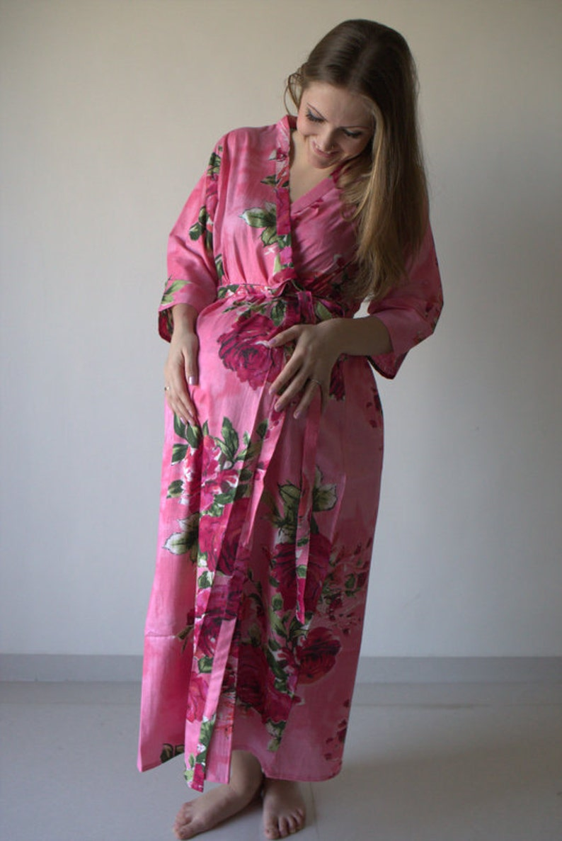 Coral Fuchsia Floral Ankle length Maternity Robe Hospital Gown Labor gown Delivery gown nursing mothers to be moms Pregnancy robe