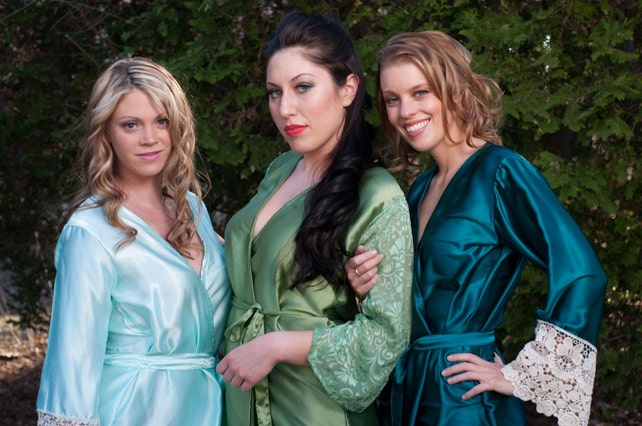 Mint, Green and Teal Luxurious Silk Lace Robes | Bridesmaids Robes, Kimono Robes, Bridesmaids gift, getting ready robes, Wedding party robes
