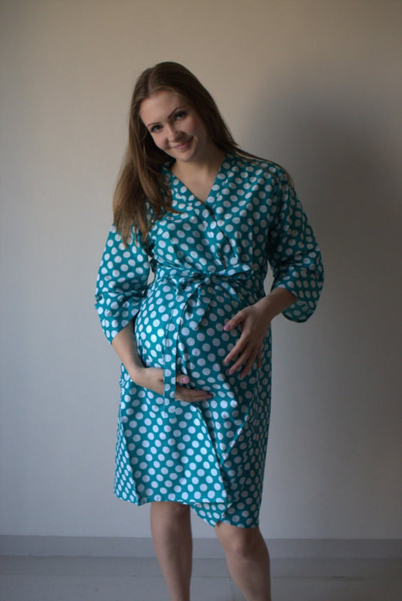 fe31faeb606 Teal Dots Maternity Robe Hospital Gown Delivery Robe labor