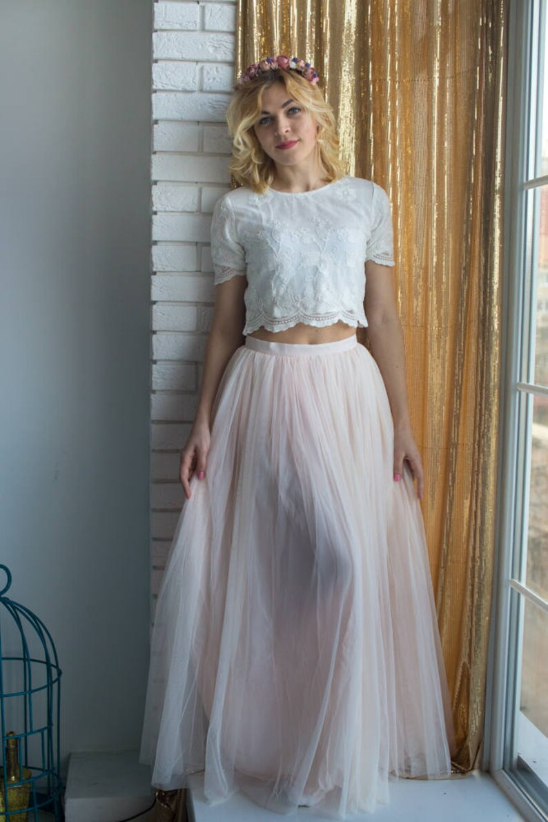 344c7ec536 Bridesmaids Tulle Skirt Top set Long Tulle Skirt Lace Crop | Etsy