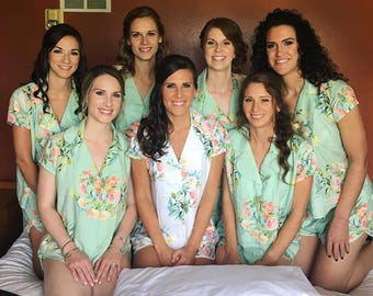 Mint Notched Collar Style Pj Sets in Angel Song Pattern - Bridesmaids Pjs