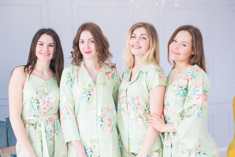 Bridesmaids Robes Dreamy Angel Song Bridesmaids Rompers /& Bridesmaids Buttoned Shirts Soft Sage Mismatched Outfits Bridesmaids Pjs