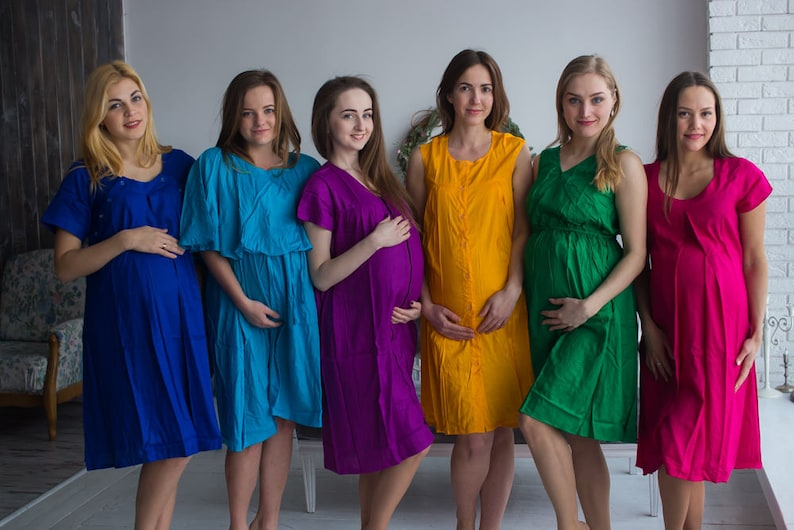 f1ae0516e2 Bright Solid Birthing Gowns Labor Gowns Delivery Gowns