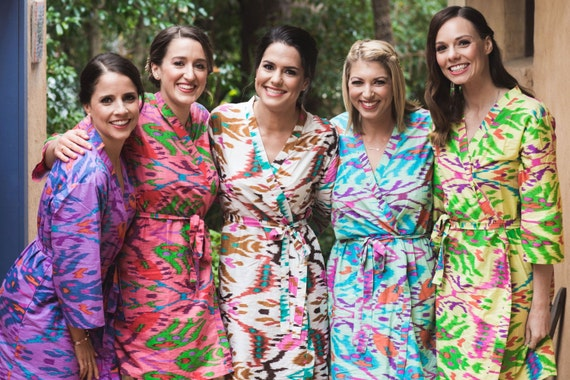 Mix Matched Ikat Aztec Bridesmaids Robes, Kimono Robes, Bridesmaids gift, getting ready robes, Bridal shower, Wedding party
