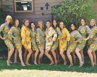 Mismatched Sunflower Bridesmaids robes | Kimono Style getting ready robes for wedding day wedding favors Bridesmaids gift, Bridesmaid Robes