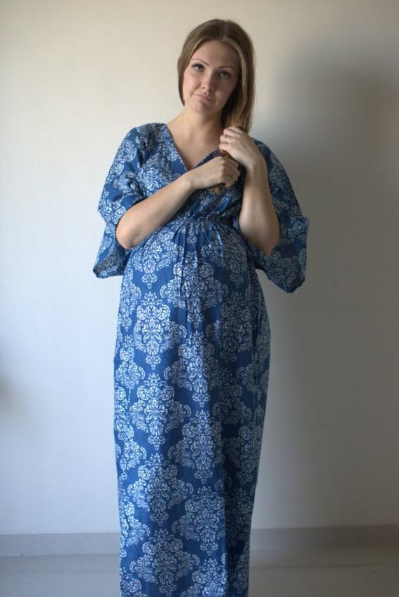 Blue Damask Buttoned Empire Waist Dress Butterfly Sleeve Etsy