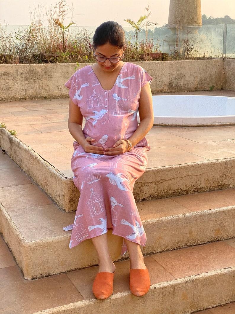 Super Cozy Sleep Shirt with pockets House Dress Softest Jersey Organic Cotton Nursing Dress Free Thinker Maternity Lounge Dress