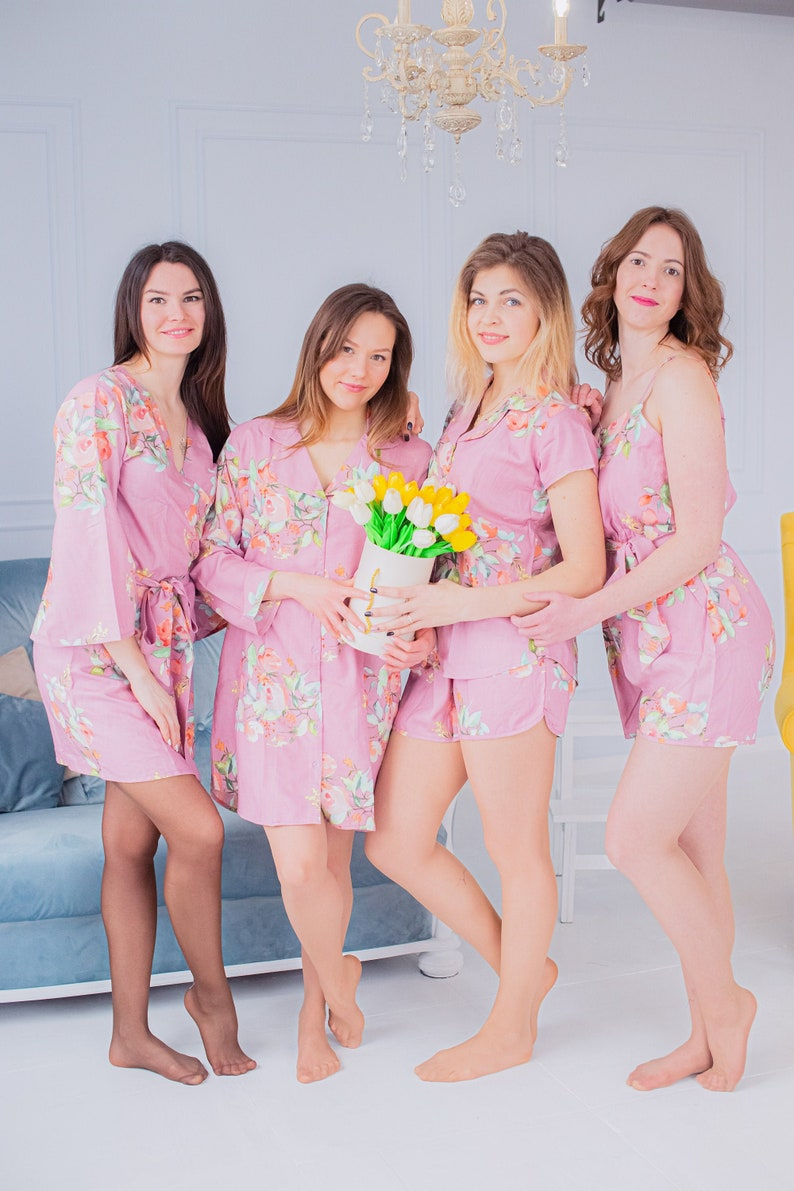 Mix of Bridesmaids Pjs Mauve Mismatched Outfits Bridesmaids Rompers /& Bridesmaids Buttoned Shirts Bridesmaids Robes Dreamy Angel Song