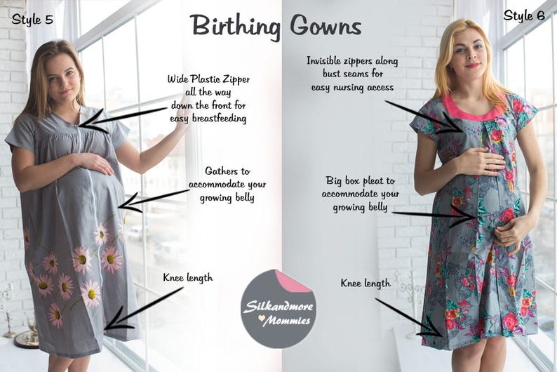 Delivery Gowns Gray Birthing Gowns Maternity Gowns Labor Gowns Feeding Gowns Nursing Gowns Hospital Gowns Silkandmore Maternity