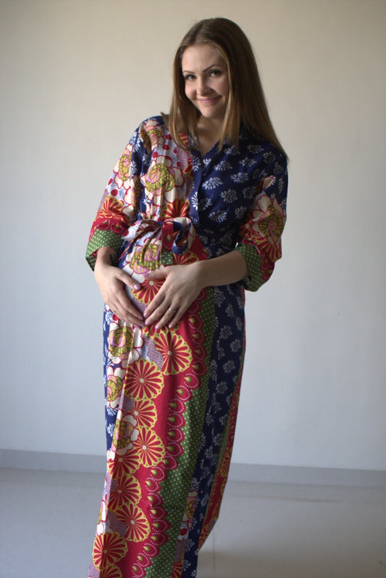 273173a4960 Dark Blue Abstract Floral Ankle length Maternity Robe Hospital